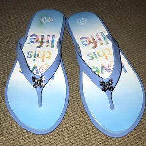 "Love This Life Flip Flops XL 11"" New! Comfortable"
